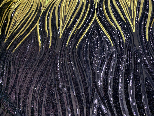Yellow Gold Black ON Black mesh - New Wavy Geometric Prom 4 Way Stretch Sequins Fabric by the Yard - IceFabrics