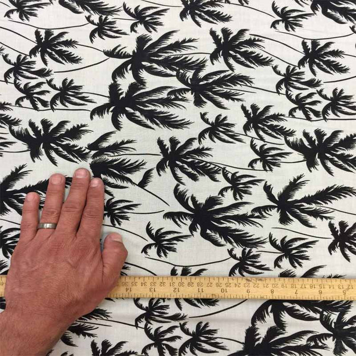 100% Rayon Challis Off white background w Black palm trees. Fabric sold by the yard soft organic kids dress draping clothing decoration - IceFabrics