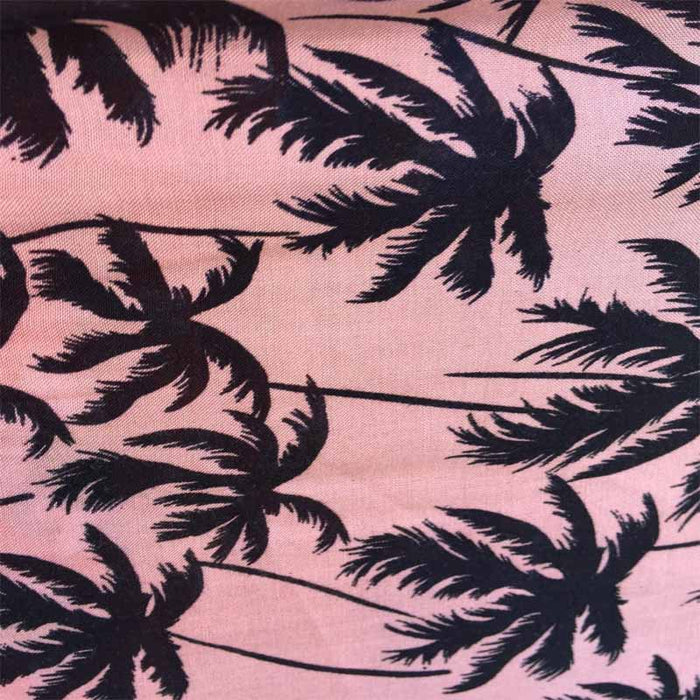 100% rayon challis Palm trees on Tuscan pink background soft tropical flowy fabric sold by the yard dress - IceFabrics