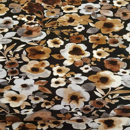 Rayon challis brown and gray floral flowers on black background organic kids dress draping clothing decoration flowy fabric sold by the yard - IceFabrics