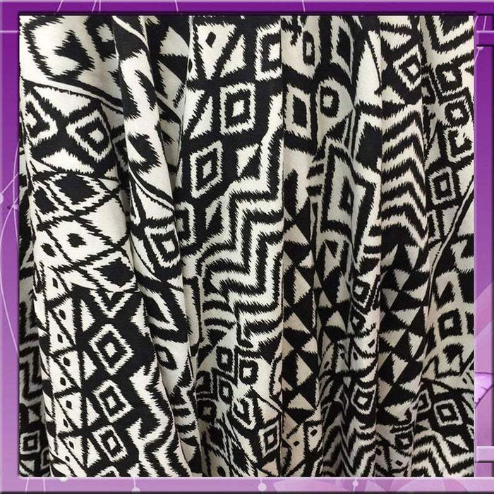 100% Rayon Challis Geometric African Print Soft N Flowy Faric 58 Inches Wide Sold by the Yard Black / White for Wedding, Tablecloth, Crafts - IceFabrics