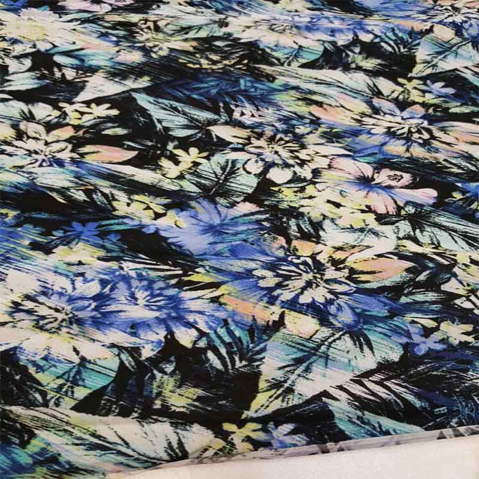Rayon challis hawaiian flower tropical Green royal blue orange black fabric sold by the yard soft organic kids dress draping clothing - IceFabrics