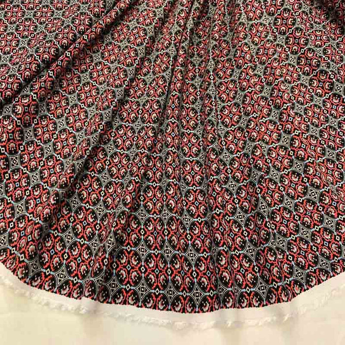 Rayon Challis Asian Inspired Print Fabric by the Yard 58 Inches Wide red black geometric soft flowy organic kids dress draping clothing - IceFabrics