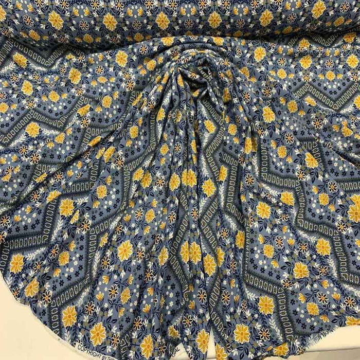 "Rayon challis Flower Power 58-60""w Fabric by the yard multicolor floral pattern soft organic fabric kids dress fabric pink yellow blue white - ICE FABRICS"