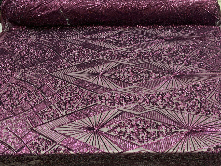Plum - STRETCH SEQUINS Fabric By The Yard 4 Way Stretch Sequins Spandex Mesh Power Mesh Sequins Lace//Embroider Geometric Prom Sequins - IceFabrics