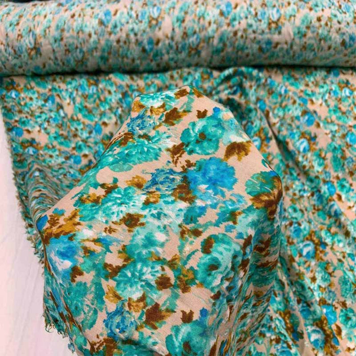 Rayon with Blue/Green Floral Print Fabric sold by the yard soft organic kids fabric flowy ligth weight fabric perfect to make dress - IceFabrics