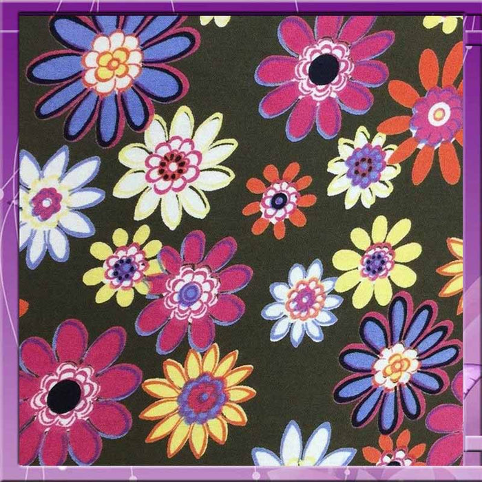 "Rayon challis Flower Power 58-60""w Fabric by the yard multicolor floral pattern soft organic fabric kids dress fabric pink yellow blue white - IceFabrics"