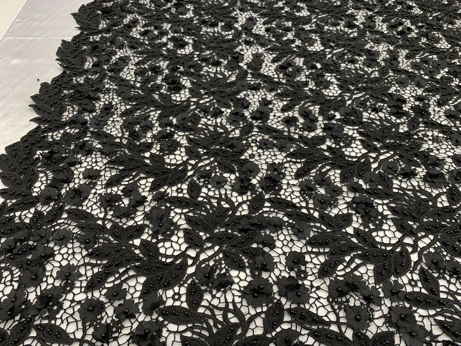 BLACK - Double 3D Flowers Beaded Lace By The Yard/Embroider Heavy Beaded Guipur Lace Fabric// Floral Flower Bridal Lace/Wedding Lace/Gowns - IceFabrics