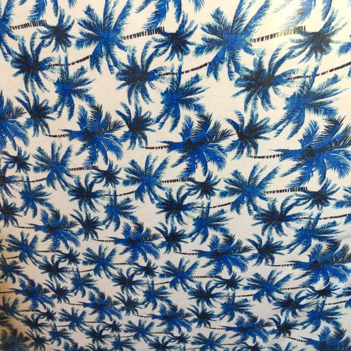 Blue - 100% Rayon chally with off white background and palmtrees tropical fabric sold by the yard clothing dress decoration organic kids - ICE FABRICS