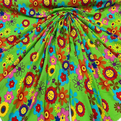 Rayon Challis Colorful Flowers Green Fabric by the Yard Soft Organic Kids Fabric Flowy Dress Decoration Draping Clothing multicolor floral - IceFabrics