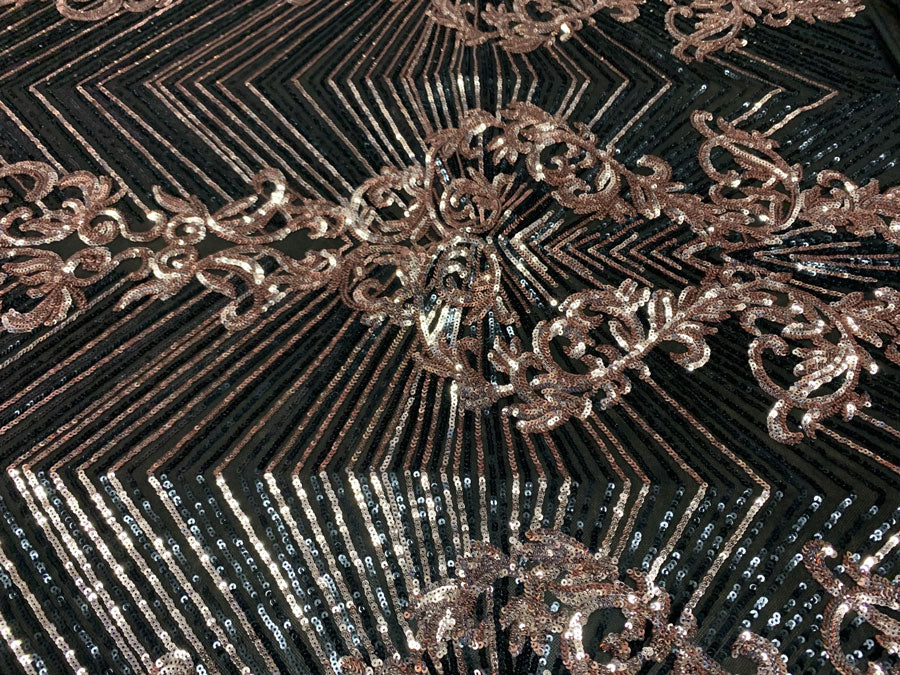 Rose Gold on Black Mesh - Nadia 4 Way Stretch Sequins Spandex Embroider Fabric - IceFabrics