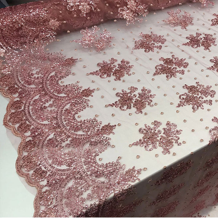 Rose - Design shop prom Bridal Design transparent Fabric Mesh lace Embroidered wedding decoration night gowns tablecloths fashion dresses - IceFabrics