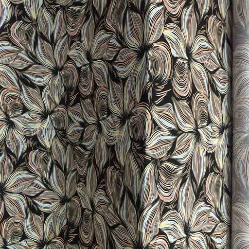 100% Rayon Challis Large Flower Pattern Black Background Fabric Sold by the Yard Dress Organic Fabric Kids - IceFabrics