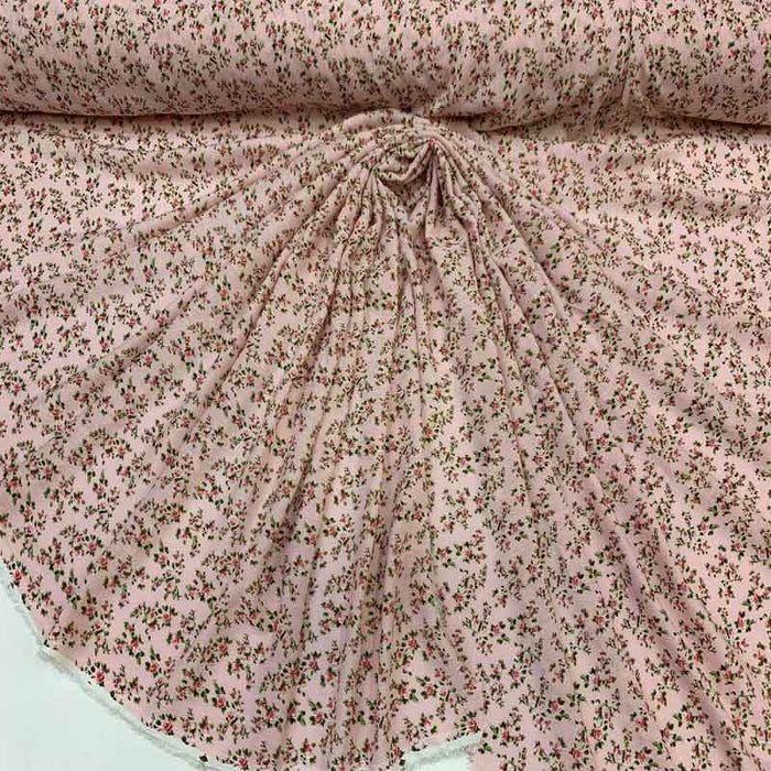 Rayon challis Pink Blush small roses floral flowers printed organic fabric sold by the yard kids dress draping clothing decoration flowy - IceFabrics