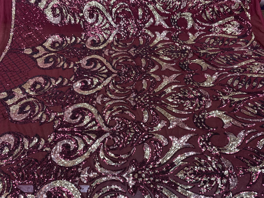 Burgundy and Gold On Burgundy Mesh - Geometric Design 4 Way Stretch Spandex Sequins Mesh Lace Fabric - IceFabrics