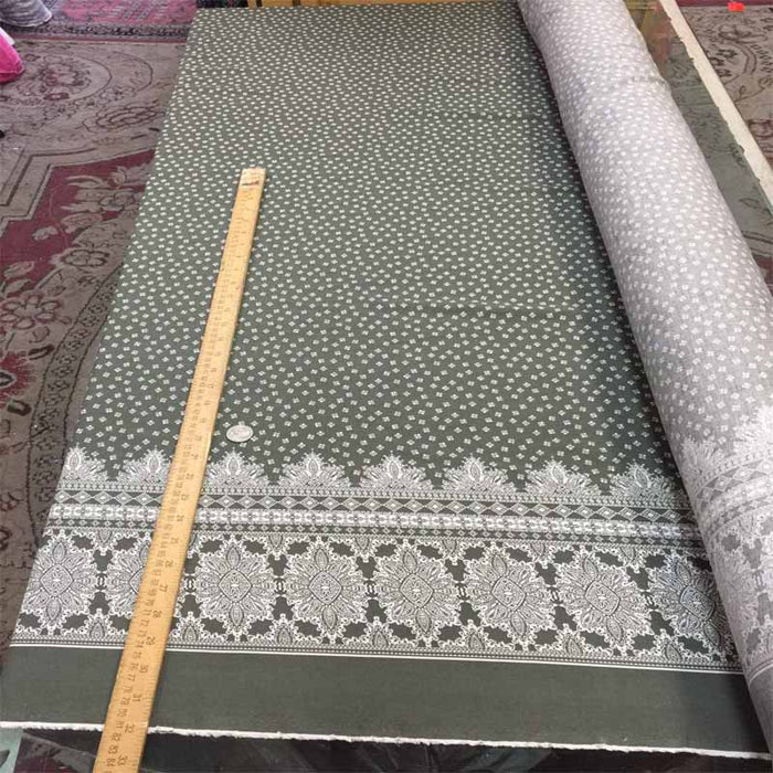 "100% Rayon challis Olive color w One paisley border 60""W - ICE FABRICS"