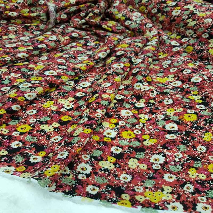 Rayon challis red and yellow floral flowers Fabric by the yard soft organic kids dress draping clothing decoration - IceFabrics