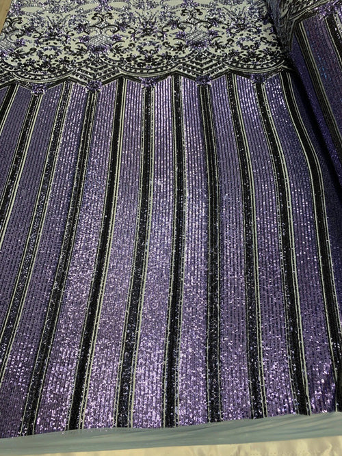 lilac - Elegant NEW Casino Design//Fabric Embroidery Sequins 4 Way Stretch Nude Mesh Spandex//Stretchy Spandex Sequins Fabric By Yard - IceFabrics