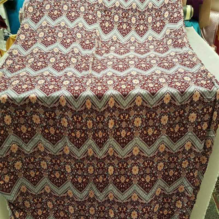 Rayon challis burgundy gray peach floral flowers chevron fabric sold by the yard soft flowy organic kids dress draping decoration clothing - IceFabrics
