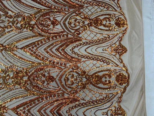 Orange On White Mesh - Iridescent French 4 Way Stretch Sequins On Blush Spandex Mesh Fabric By The Yard - IceFabrics