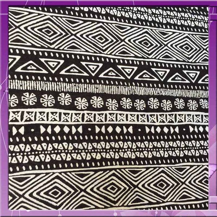 100% Rayon crepe Aboriginal inspired print off white N black fabric sold by the yard soft organic kids dress draping clothing decoration - IceFabrics