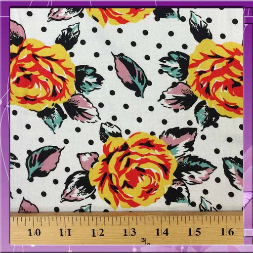 "100% Rayon challis Retro deisgn floral print 58"" / 60"" wide fabric sold by the yard floral flowers roses yello - IceFabrics"