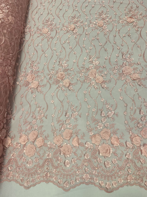 Pink Lace Embroidered Fashion Modern 3D Flowers Mesh Lace Fabric By The Yard//Floral Lace/ Handmade Lace/ Corded Flowers Lace/Veil Gowns - IceFabrics