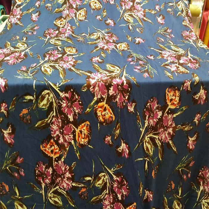 Rayon challis. Black background blue background Large floral flowers multicolor orange pink Fabric by the yard soft flowy organic kids - IceFabrics