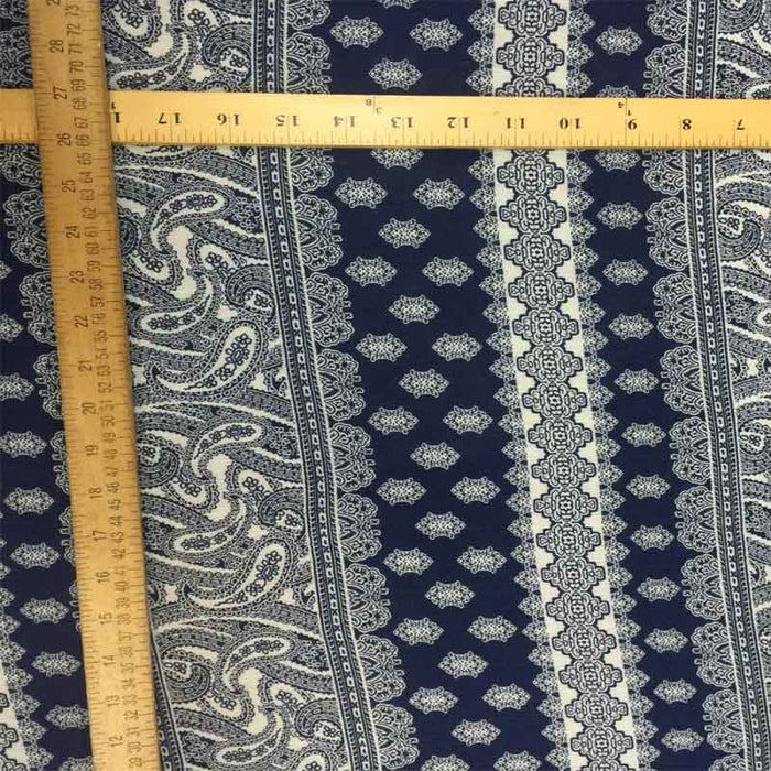 "100% Rayon crepe w Blue paisleys blue n white 60 "" w Fabric by the yard - IceFabrics"