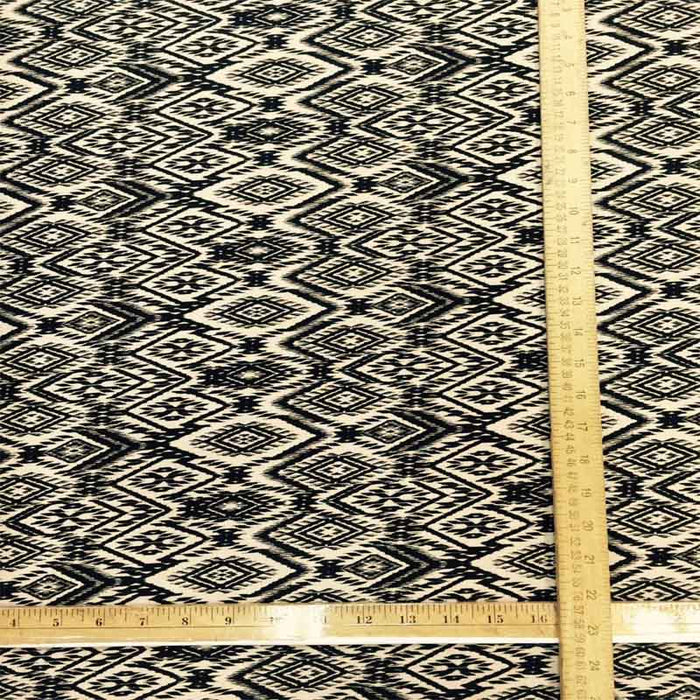100% Rayon Challis. Black and Tan Geometric Pattern. Fabric by the Yard soft flowy organic kids dress draping clothing decoration - IceFabrics