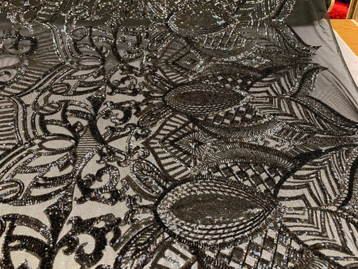 Black - London Design 4 WAY Stretch Sequins Fabric Spandex - IceFabrics