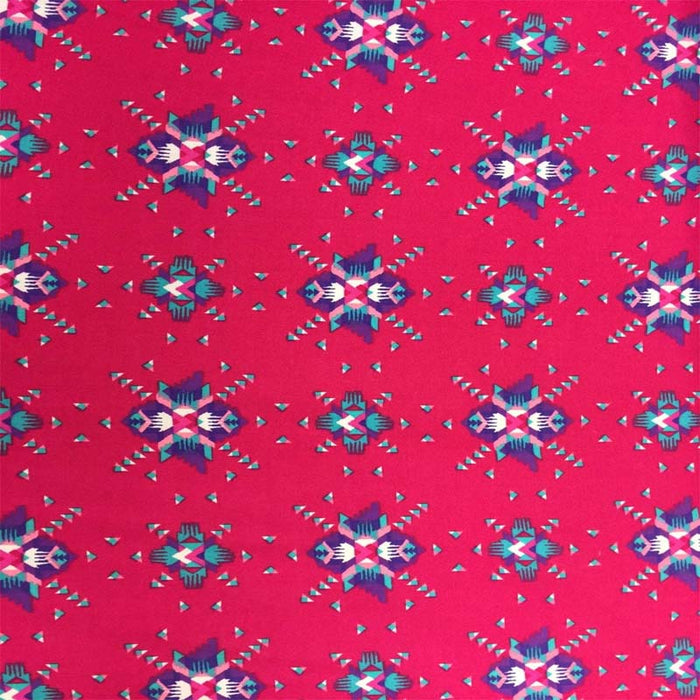 Rayon challis Pink Native American inspired print pink purple aqua Fabric sold by the yard organic soft flowy fabric kids dress draping - IceFabrics