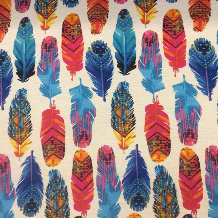 "Rayon stretch white Aqua fuchsia feathers 60""w fabric sold by the yard soft Spandex Rayón kids organic fabric multicolor feathers - IceFabrics"
