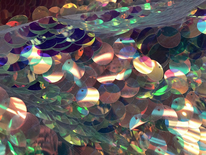 Clear Pink - Iridescent Circle Sequins Hologram Fabric Multi Color Fabric Sold By The Yard - IceFabrics