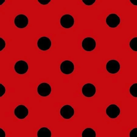 Black Dot on Red - 1-Inch Polka Dot/Spot Poly Cotton Fabric - IceFabrics