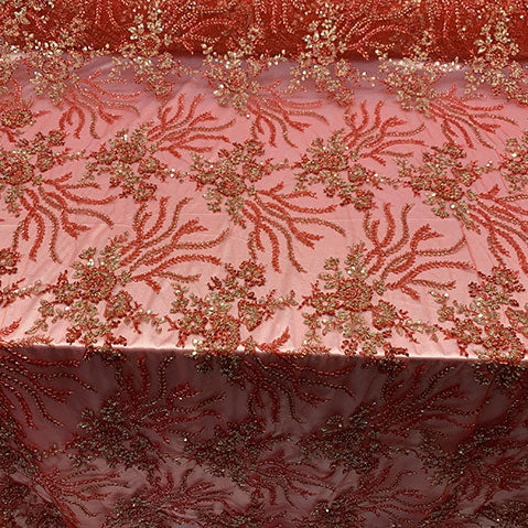 Red/Green - Handmade Floral Luxury Flowers Sequins Beaded Mesh Lace - IceFabrics