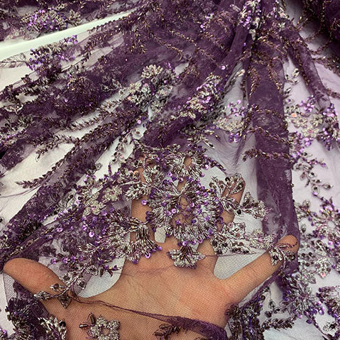 Plum/Purple - Handmade Floral Embroidery Bridal Lace Big Flowers Sequins Fabrics - IceFabrics
