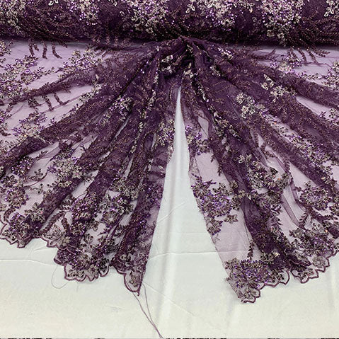 Plum/Purple - Handmade Floral Embroidery Bridal Lace Big Flowers Sequins Fabrics - ICE Fabrics