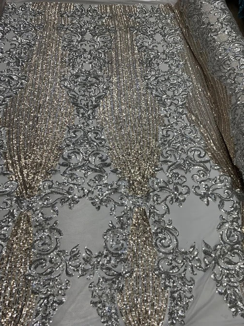 Silver - ELEGANT French Sequins Stretch Spandex Power Mesh Lace SEQUINS Fabric By The Yard//Floral 4 WAY Stretch Lace Fabric//Prom Gowns - IceFabrics