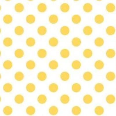 Yellow Dot on White - 1-Inch Polka Dot/Spot Poly Cotton Fabric - IceFabrics