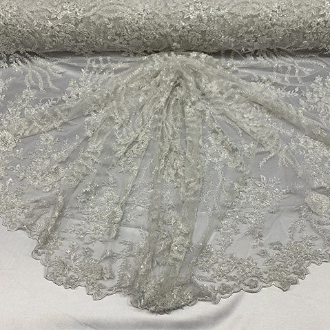 Ivory - Handmade Floral Embroidery Bridal Lace Big Flowers Sequins Fabrics - ICE Fabrics
