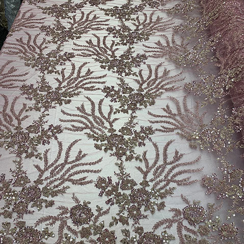 Dusty Rose - Handmade Floral Luxury Flowers Sequins Beaded Mesh Lace - IceFabrics