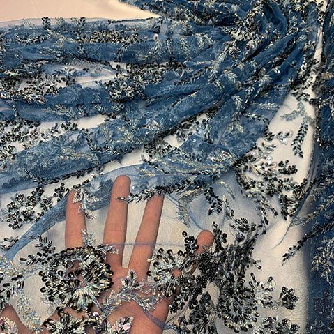 Handmade Floral Embroidery Bridal Lace Big Flowers Sequins Fabrics | ICE Fabrics