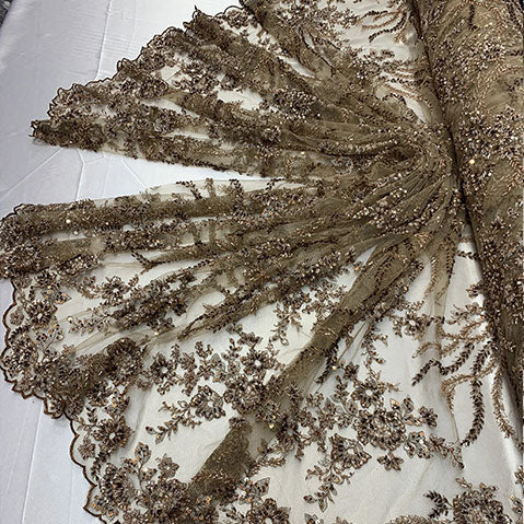 Taupe/Brown - Handmade Floral Embroidery Bridal Lace Big Flowers Sequins Fabrics - IceFabrics