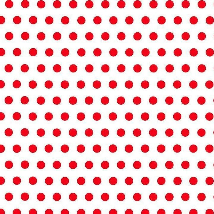 Red Dot on White - 1-Inch Polka Dot/Spot Poly Cotton Fabric - IceFabrics