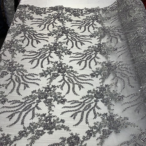 Silver/Gray - Handmade Floral Luxury Flowers Sequins Beaded Mesh Lace - IceFabrics