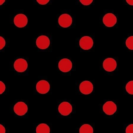 Red Dot on Black - 1-Inch Polka Dot/Spot Poly Cotton Fabric - IceFabrics