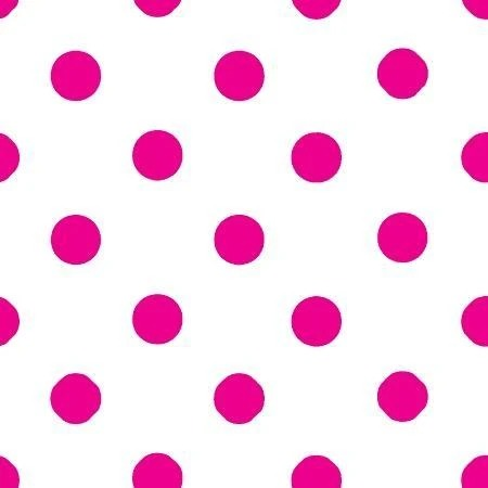 Pink Dot on White - 1-Inch Polka Dot/Spot Poly Cotton Fabric - IceFabrics