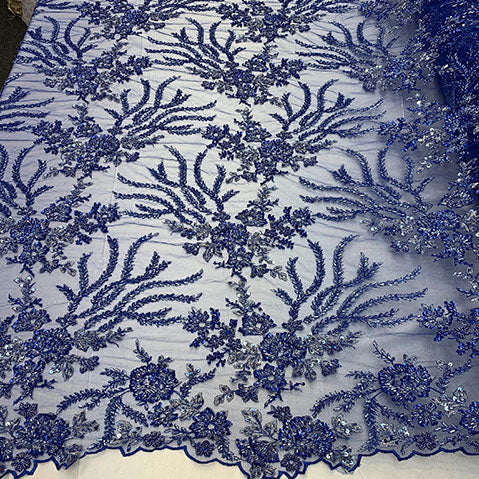 Royal Blue - Handmade Floral Embroidery Bridal Lace Big Flowers Sequins Fabrics - ICE Fabrics