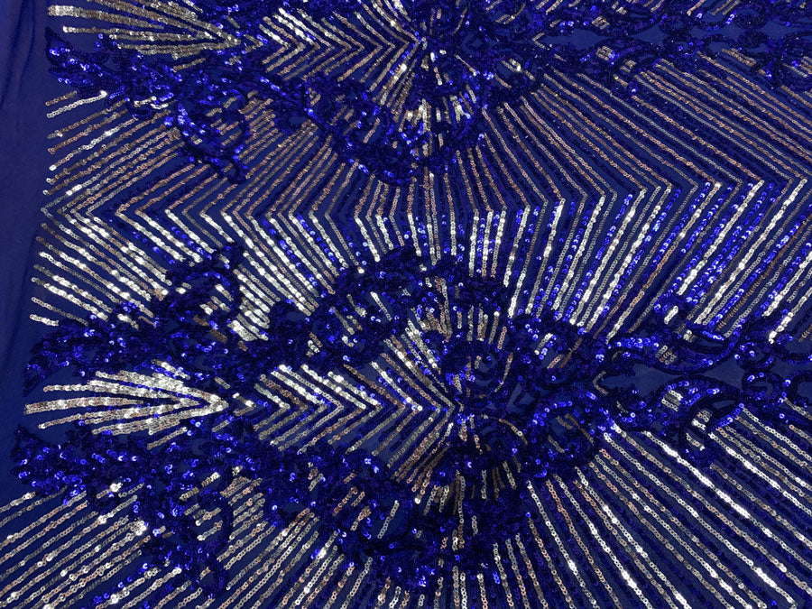 Royal Blue Gold On Blue Mesh - Nadia 4 Way Stretch Sequins Spandex Embroider Fabric - IceFabrics